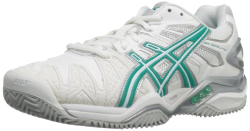 ASICS Women's Gel-Resolution 5 Clay Court-W, White/Aqua Green/Lightning 12 M -
