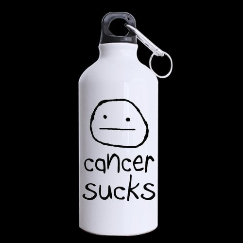 Cancer Sucks Sports Bottle, Aluminum Sport Water Bottle - 13.5 OZ - BPA Free, One-sided Printing by WECE