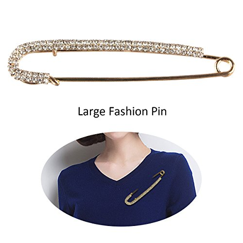(TQS Clothes Pins - Unique Punk Chic Style Brooch Pin - Golden Simulated Pearls for Women's Day)