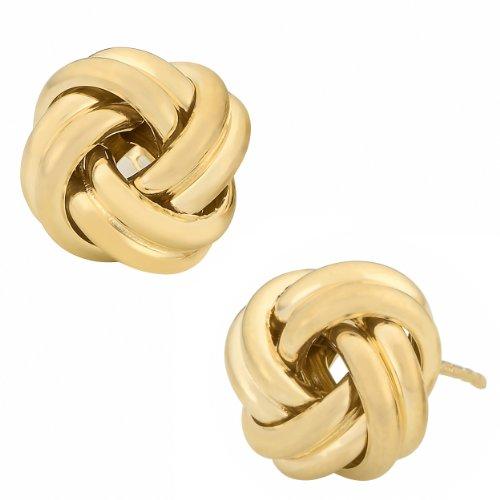 Kooljewelry 10k Yellow Gold Polished Love Knot Earrings (12 mm)