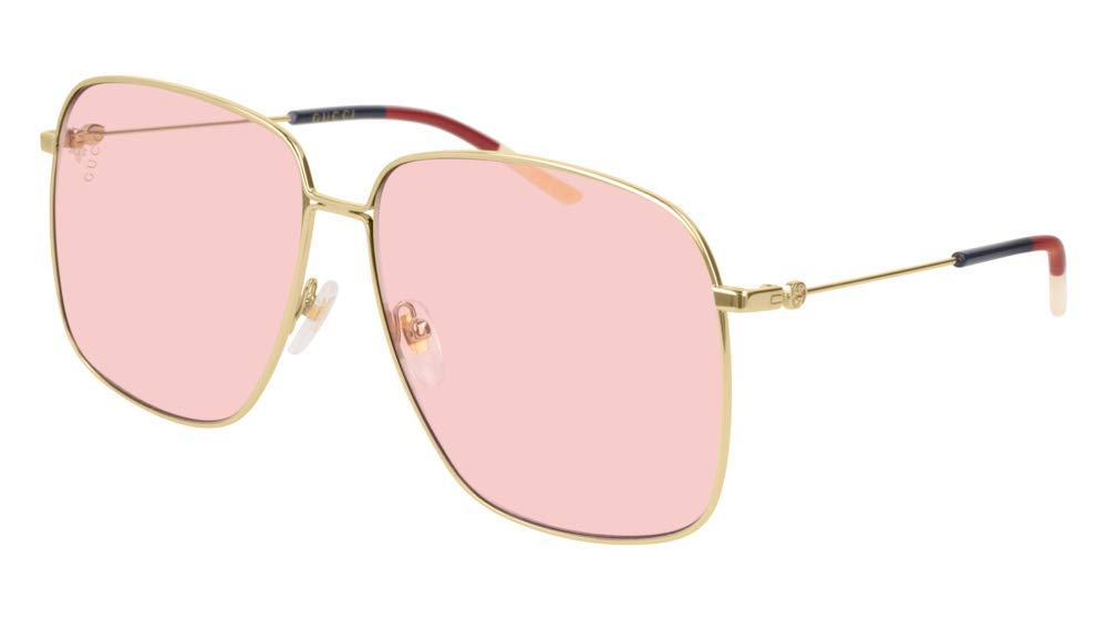 Gucci 0394S Women's Rectangular Metal Sunglasses 004 (Gold) Pink 61 mm