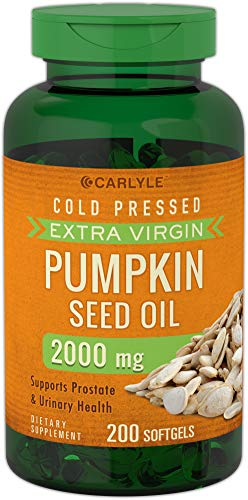 Pumpkin Seed Oil (Carlyle Pumpkin Seed Oil 2000 mg 200 Softgel Capsules | Cold Pressed, Extra Virgin | Non-GMO, Gluten Free)