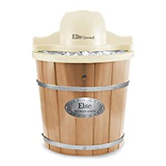 The Elite Gourmet 4Qt. Old Fashioned Electric Ice Cream Maker churns out delicious homemade ice cream in less than 40 minutes. It features a 4-quart heavy duty aluminum canister and a powerful 90-rpm motor, so making ice cream is fast, conven...