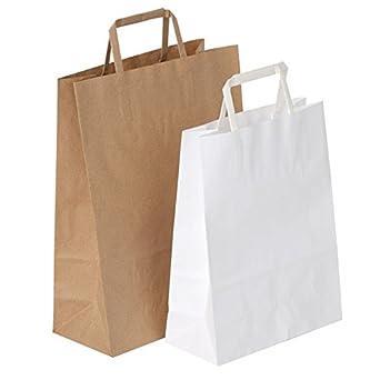 Propac Z-SHOW18 Buste Shopper in Carta Maniglia Piatta, Bianco, 18 x 25 cm, Set di 100