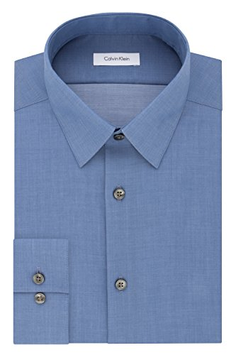 Calvin Klein Men's Slim Fit Non-Iron Herringbone Point Collar Dress Shirt, English Blue, 17