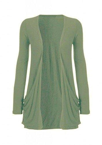 Hot Hanger Ladies Plus Size Pocket Long Sleeve Cardigan 16-26 (16-18 LXL, Khaki Green)