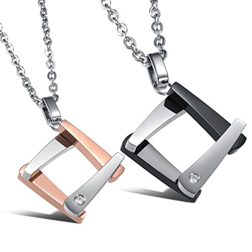 [Dixivi Jewelry a Pair Valentine Couple Stainless Steel His and Her Matching Necklace Sets] (Matching His And Her Costumes)