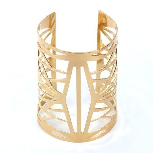 R TOOGOO Bracelet Gourmette Jonc Manchette Ouvert En Metal Ajoure Or Femme Fille