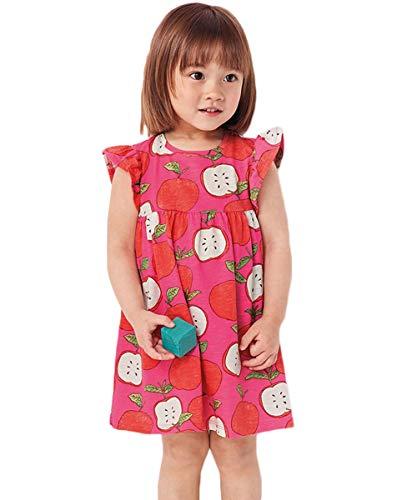HILEELANG Little Flower Girl Dress Cotton Sleeveless Fruit Appale Print Cotton Casual Tank Dresses 2-7 -