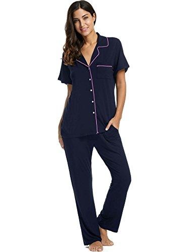 Avidlove Womens Comfort Pajama Set Short-Sleeve with Long Pjs Pants Soft - Pants Long Pajama Women