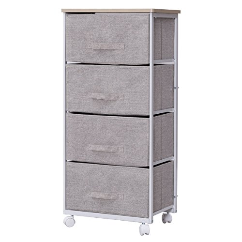Giantex 4-Tier Storage Drawer Organizer on Wheels Rolling Shelf Cart for Closet, Bedroom Entryway Fabric - 14 Drawer Mobile Organizer