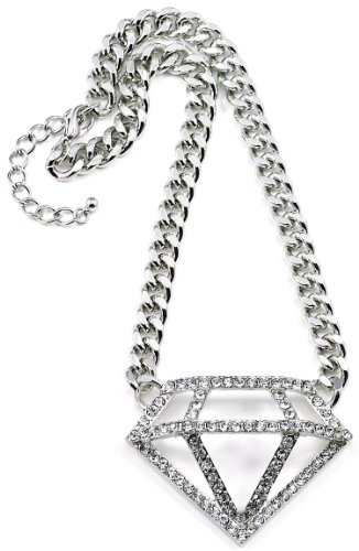 GWOOD Diamond Shape Iced Out Silver Color Pendant with 16 1/2 Inch Long 10mm Wide Link Necklace ()