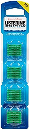 - Listerine Ultraclean Access Flossers Disposable Heads Fresh Mint Crystals 28 Each (Pack of 5)