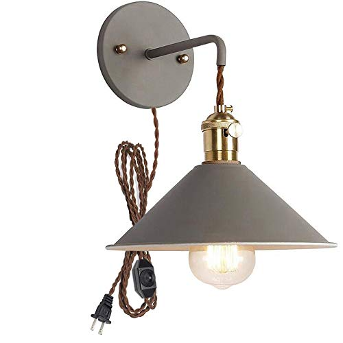 Plug-in Dimmable Wall Sconce Lamps Lighting Fixture Within-line Cord Dimmer Switch,Grey Macaron Wall lamp E26 Edison Copper lamp Holder with Frosted Paint Body Bedside lamp Bathroom Vanity Lights