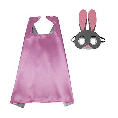 Bunny Costume Cape with Animal Mask for Kids Boys Girls Zoo Dress up Birthday Party Supplies Pink-Silver]()