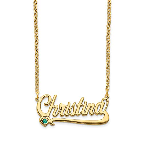14K Yellow Gold Birthstone Nameplate Personalized Pendant ()