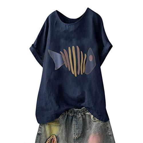 SUNyongsh Women's Blouse Cotton Linen Print O Neck Loose Tops Casual Plus Size Short Sleeve Shirts Navy ()