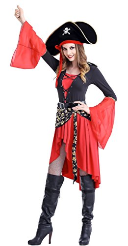 Cohaco Women's Sea Captain Pirate Costume (Pirate Style) (Pirate Costume Jacket)