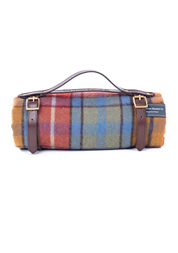 The Tartan Blanket Co. Recycled Wool Picnic Blanket with Brown Leather Strap (Buchanan Antique) (Wool Antique Blanket)