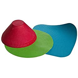 Teal square and green round flat grip for large jars. Red cone shaped ribbed grip helps open a variety of smaller bottles and jars. Rubber. Hand wash.