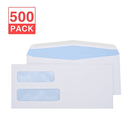 Acko # 9 500 PACK 4 x 9 Double Window Envelope Check Envelopes Tinted Security Envelopes Designed for Home Office Secure Mailing,Invoices Checks Statements and Documents - White Envelopes 500 Count