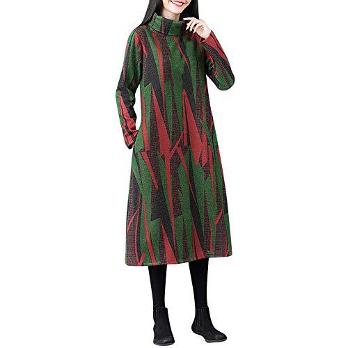 Womens Winter Dress Duseedik Warm Paisley Long Sleeve Printed Maxi Dress Kaftan ()