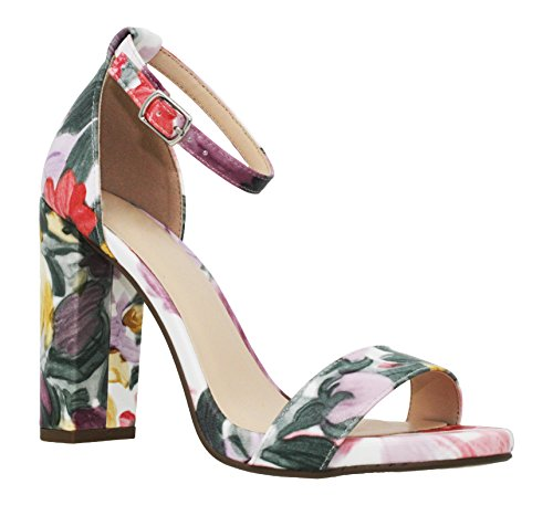 - MVE Shoes Women's Stiletto Pumps High Heels Open Toe Ankle Strap Platform, Flowers Size 7.5