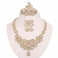 Moochi 18K Gold Plated Necklace Earrings Ring Bracelet Jewelry Set Africa Beads Costume Show Wedding