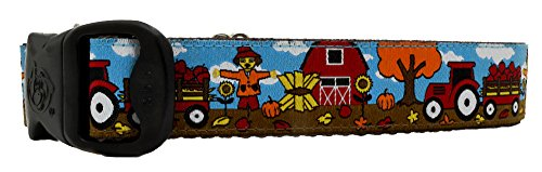Image of 3 Dirty Dawgz Exclusive Adjustable Fall At the Farm Scarecrow Dog Collar for Medium Large and X-large Dogs (L)