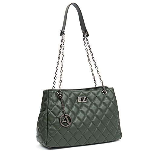 (Mother's Day Gift Women Lambskin Leather Crossbody Bag Quilted Shoulder Bag Small Handbag Purse Rhombus-Dark Green)