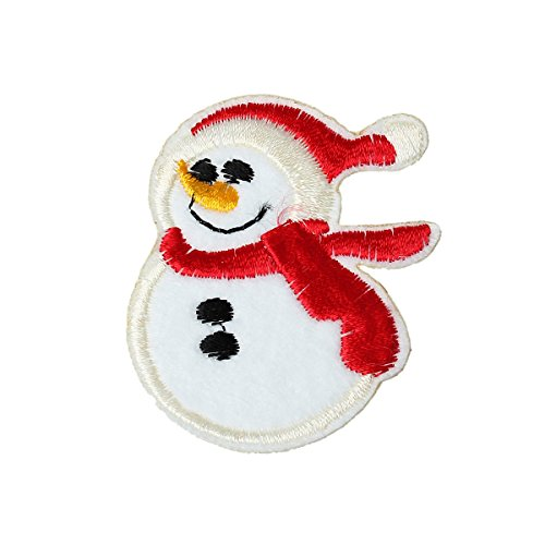 SouartsEmbroidered Cloth Iron On Patches Appliques Christmas Snowman Pack of 20pcs