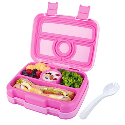 Kids Lunch Box Bento Box for Kids Nomeca BPA-Free Leak Proof 4-Compartment Lunch Container with Spork, Microwave Safe Portion Control Meal Fruit Snack Packing for Girls Toddler School Travel -Hot Pink (Best Bento Lunch Box For Kids)