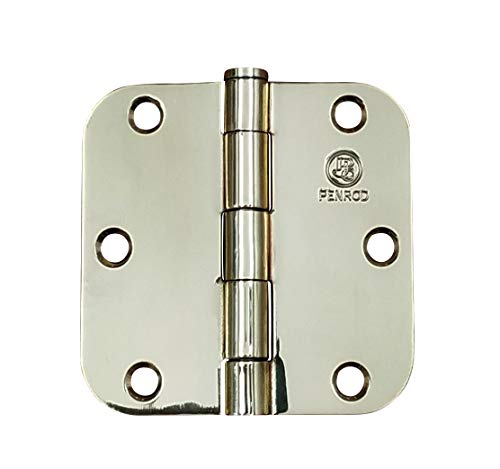 Solid Brass Door Hinges 3.5 Inches with 5/8 Inch Radius - Highly Rust Resistant - 2 Pack