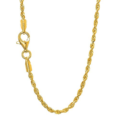 JewelStop 14k Solid Yellow Gold 1.5 mm Rope Chain Anklet, Lobster Claw Clasp-10
