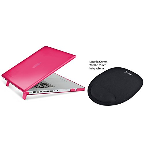 "MacBook Pro 15"" Case, Insten Hot pink Snap-in Rubber Case + Comfort Mouse Pad compatible with Apple MacBook Pro 15"""
