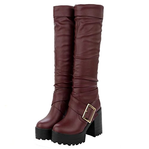 AIYOUMEI Women's Red Boot Classic Wine qrUSq