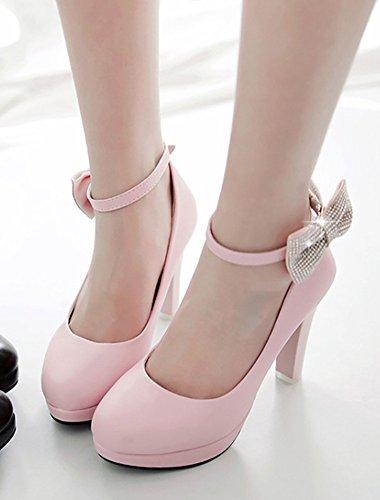 Aisun Womens Tacco A Spillo Décolleté Con Fiocco - Platform Chunky Shoes Party Wedding - Cinturino Alla Caviglia Con Fibbia Tacco Alto Rosa