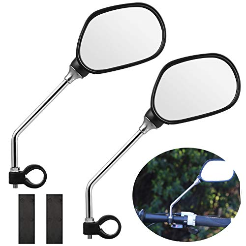 EEEKit Bike Mirror, 1 Pair Safer Bicycle Mirror for Handlebars, Bicycle Rearview Mirrors,Stainless Steel Lens,Mountain Bike Handlebar Mirror ()