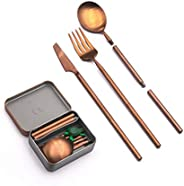 Outlery | Portable & Reusable Stainless Steel Travel Cutlery Set With Case For Camping, Picnic, Office and