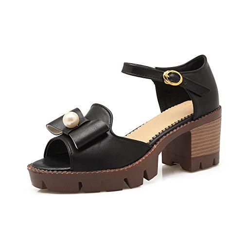 BalaMasa Womens Soft-Toe Solid Fashion Urethane Sandals ASL05009 Black BSH4ZI4
