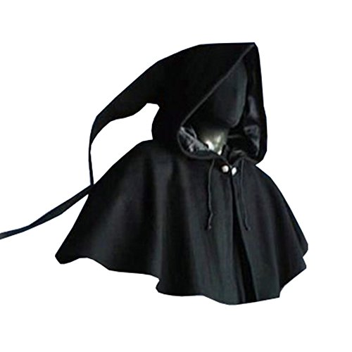 Karlywindow Men's Halloween Costume Unisex Medieval Cloak with (Medieval Hood)