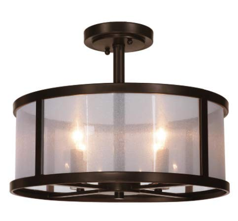 Danbury 4 Light 18 inch Bronze Pendant Ceiling Light ou Flush Mount in Organza Wrapped Drum Shade ()