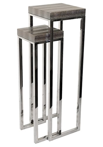 Empire Art Direct Silver Lizard Leather Tall Tables Nesting Pedestals, 12 in. X 12 in. X 39 in in, Elegant Faux Skin