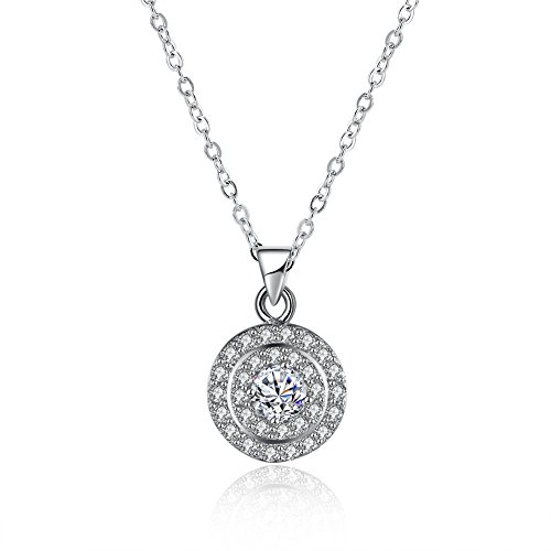 The Starry Night White Round Shape Deluxe Diamond Accented Style Zircon Pendant Silver Clavicle Necklace (Small Deluxe Vampire Fangs)