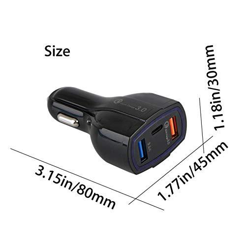48W 3-Port Adaptive USB DC Car Quick Port Compact Compatible OnePlus 6T Razer -