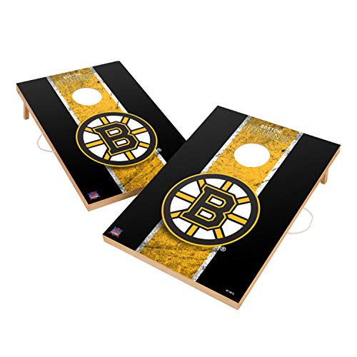 Victory Tailgate Boston Bruins NHL Solid Wood 2x3 Vintage Cornhole Game Set - 2 Boards, 8 Bags (Game Boston Room)