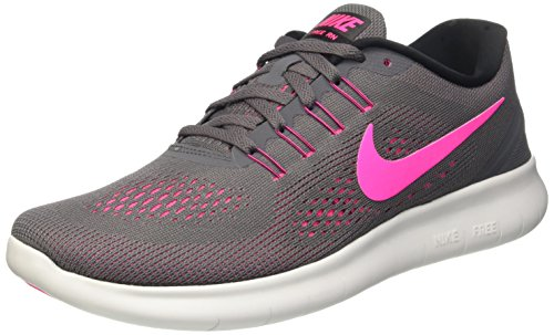 NIKE Women's Free RN, Dark Grey/Pink Blast/Black/Cool Gray, 6.5 B-Medium