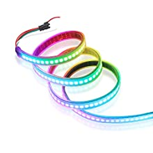 CHINLY 3.3ft 144leds WS2812B Individually Addressable LED Strip Light 5050 RGB SMD 144 Pixels Dream Color Waterproof IP67 Black PCB 5V DC