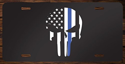 Full Color License Plate - Thin Blue Line Punisher Skull Vanity Front License Plate Tag Printed Full Color KCFP033
