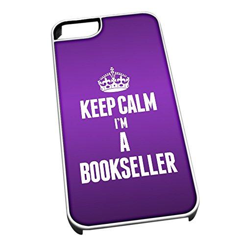 Bianco cover per iPhone 5/5S 2534viola Keep Calm I m A Bookseller